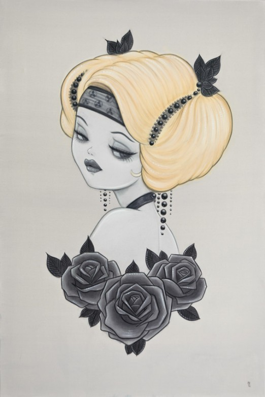Anarkitty Large Acrylic painting of 1920s inspired Pin-up with Black roses, blonde updo black headress