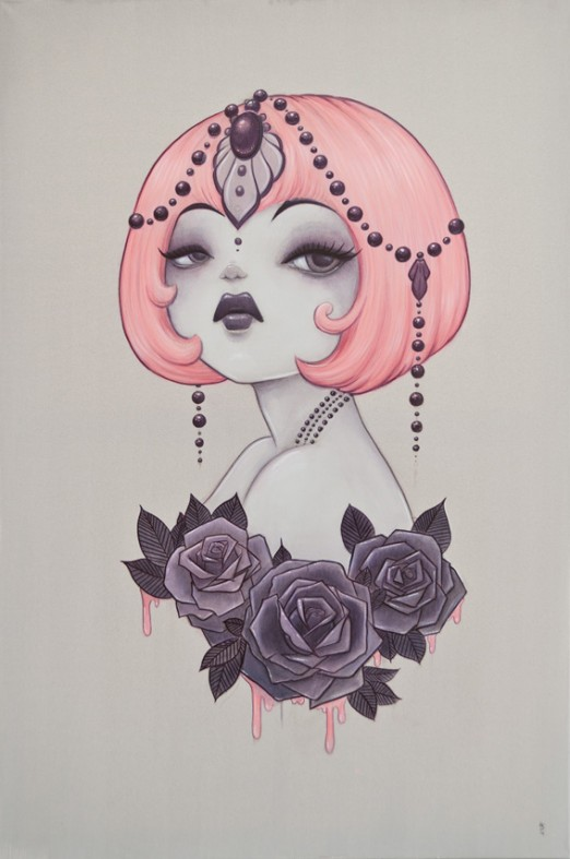 1920's inspired Anarkitty Painting , pink bob, black roses, pinups, tattoos acrylic 61x91cm on canvas