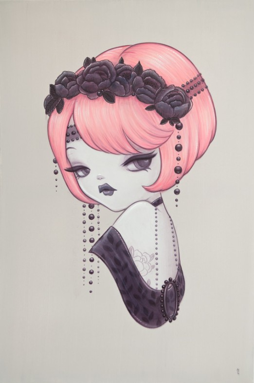 Painting by Anarkitty pink bob inspired by 1920's style, flower headdress, acrylic 61x91cm on canvas