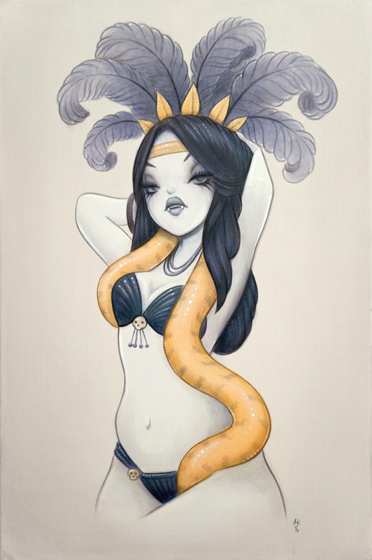 Original Painting acrylic on canvas Burlesque dancer with snake, inspired by 'From Dusk Till Dawn' by anarkitty