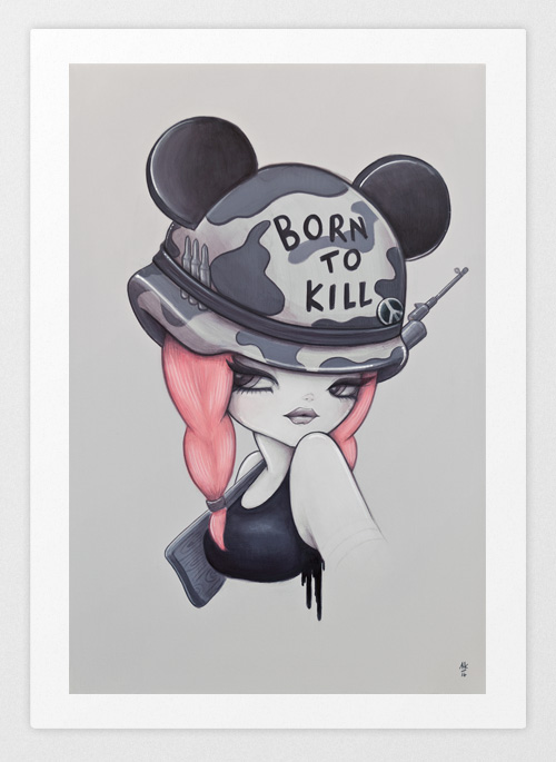 Pop Art Print, Full Metal Jacket Girl Wearing Born To Kill Helmet And Mickey Mouse Ears Holding A Gun.