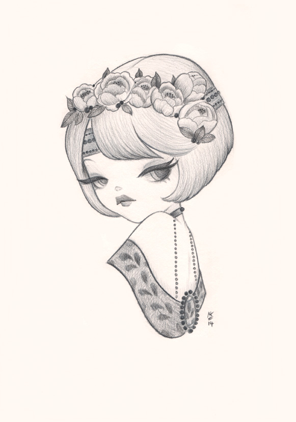Anarkitty Pencil Drawing, 1920s inspired woman with flower flower headpiece