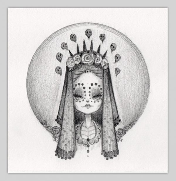 Original Pencil Drawing : Little Bride Of Muerte