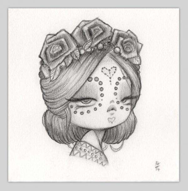 Anarkitty Cute Pinup Pencil Sketch, Day Of The Dead,with Roses